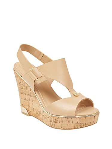 Natural Women's Leather Wedge GUESS Hulda Light Sandal 4avXxqwd