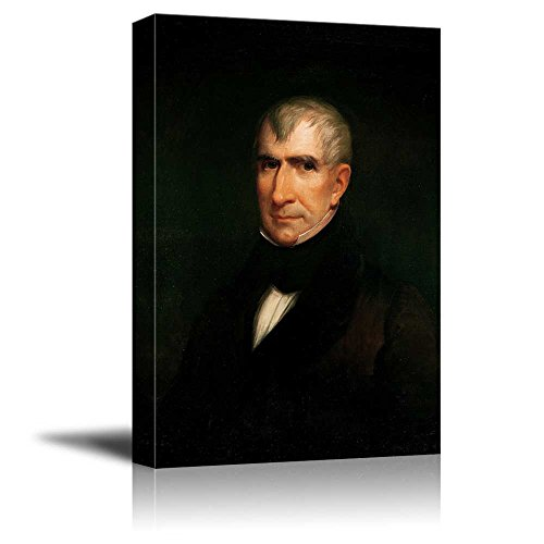 wall26 - Portrait of William Henry Harrison by James Reid Lambdin (9th President of The United States) - American Presidents Series - Canvas Wall Art Gallery Wrap Ready to Hang - 12x18 inches