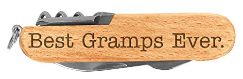 Fathers Day Gift for Grandpa Best Gramps Ever Laser Engraved Wood 6 Function Multitool Pocket Knife