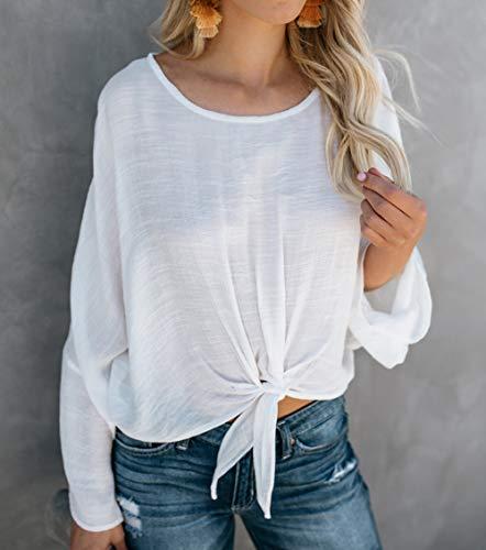Chemisiers Tee Col Blouse Automne Unie Femmes Printemps Bandage Longues Couleur Mode Manches Blanc avec T Hauts Rond Tops Shirt ZR1wx6