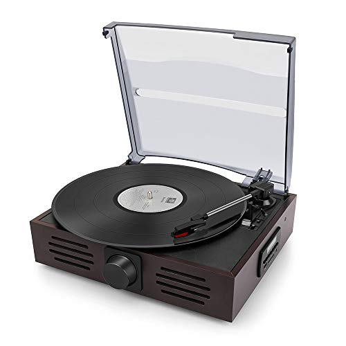 Record Player Portable Bluetooth 3-Speed Turntable Built in Stereo Speakers, Professional Vintage Style Vinyl Record Player, LCD Display and Auto Stop Control with Socket for Headphone to Play iPhone