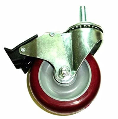 "Colson Caster with Polyurethane 5"" Wheel w/ Top Lock Brake & 1/2"" Threaded Stem"