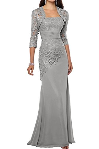 VaniaDress Women Long Mother Of The Bride Dress With Jacket Formal Gowns V263LF Silver US18W