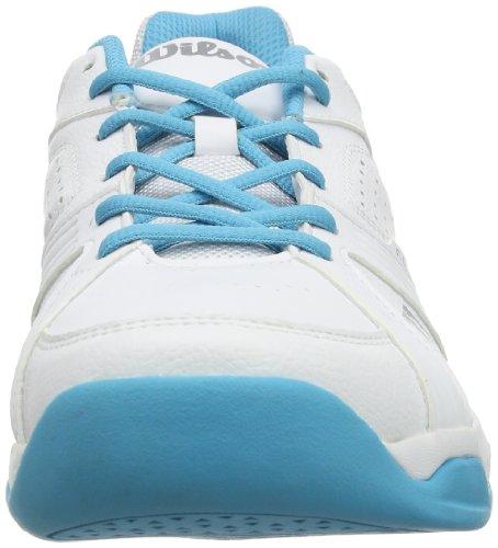 Wilson RUSH SWING W WHITE/WHITE/OCEANA - Zapatillas De Tenis de material sintético mujer multicolor - Mehrfarbig (White/White/Oceana)