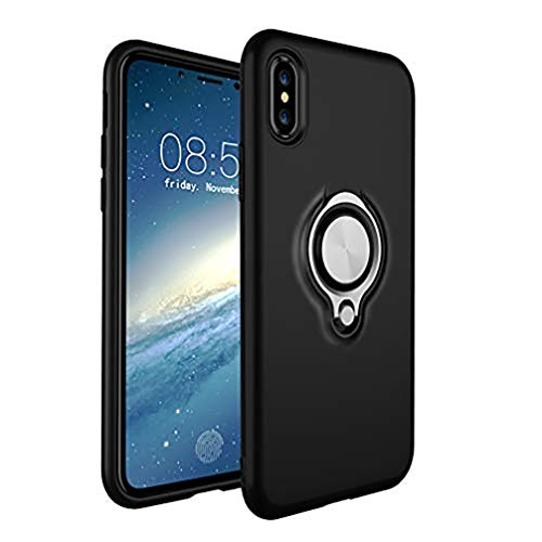 ANERNAI iPhone Xs Max XS Plus (2018) 6.5 Inch Case, Thin Hard Shockproof Durable Ring Kickstand Magnetic Car Mount Shell,Black