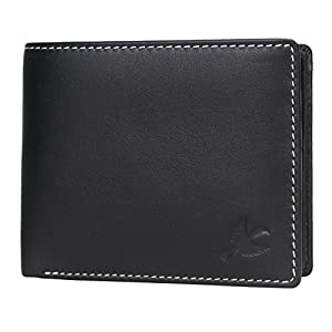 Hornbull Men's Stella Genuine Leather RFID Blocking Wallet (Black)