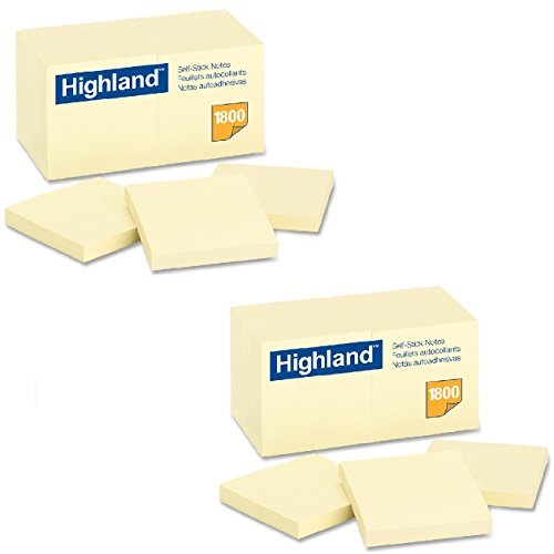 Highland Notes, 3 x 3-Inches, Yellow, 36-Pads/Pack by Highland