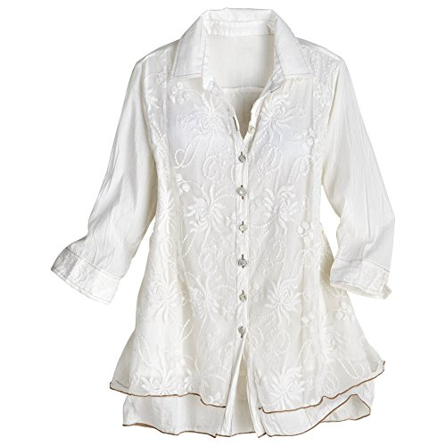Women's Lavish Lace Layered Button Down Blouse - Cotton - White - Large