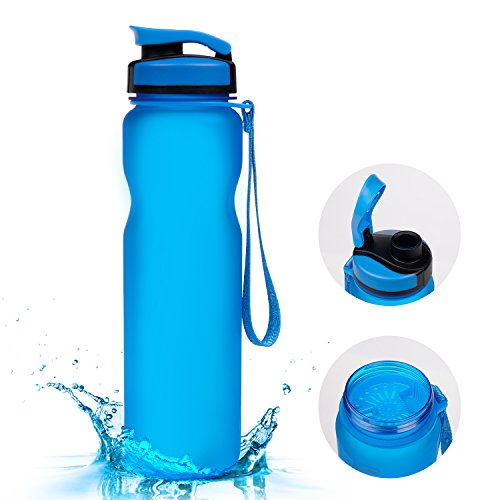 BADALink Sports Water bottle 1L / 36oz Tritan BPA-Free Drink Cup for Exercise Camping with Brush (Blue)