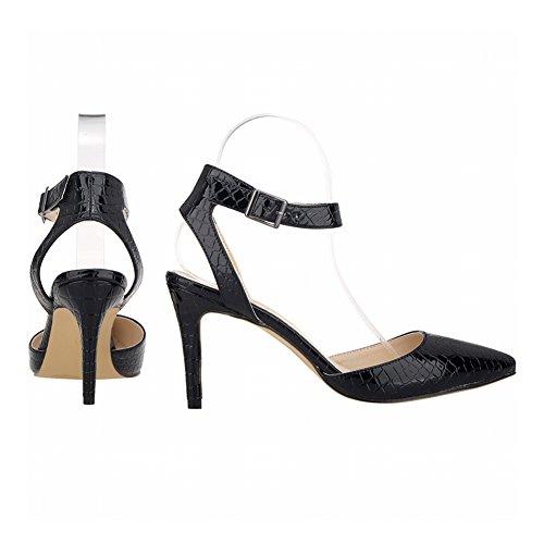 Haodasi Damen Synthetik Krokodil Leder High Heels Sandalen Knöchel Gurt Single Schuhe Black