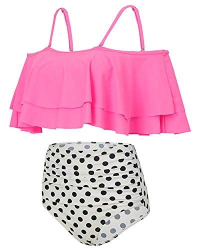 Holipick Women Two Piece Ruffled Flounce Off Shoulder Tankini Top With Polka Dot Bottoms Swimsuits Set Pink L by Holipick (Image #3)