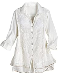Parsley & Sage Womens Lavish Lace Layered Button Down Blouse - Cotton