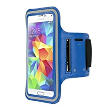 kwmobile sport armband for Samsung Galaxy S5 / S5 Neo / S5 LTE+ / S5 Duos jogging running sport bag fitness band with key compartment in the sport armband in blue