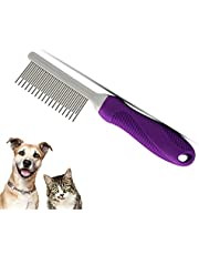 Pet Comb Long & Short Stainless Steel Teeth For Dog & Cat Comb Removing Matted Fur, Hair, Knots & Tangles – Detangler Tool Accessories for Safe & Gentle Home Grooming Kit