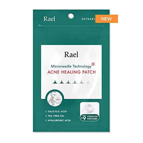 Rael Microneedle Acne Healing Patch - Pimple Acne Spot Tea Tree Treatment (1Pack, 9 Patches) (Best Makeup To Cover Acne Scabs)
