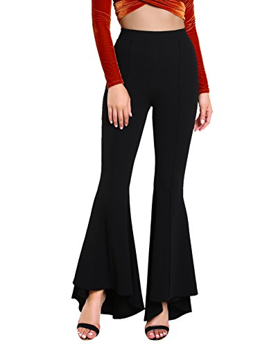 60s Black Silk - MAKEMECHIC Women's Solid Flare Pants Stretchy Bell Bottom Trousers #Black L