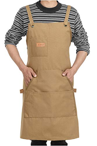 Surblue Adjustable Unisex Tool Apron with 4 Pockets+ 4 loops Back Cross (Khaki) from Surblue