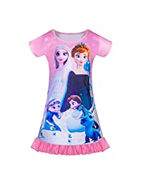 Princess Girls Nightgown Toddler Girls Pajamas Sleep Dress Short Sleeve for Birthday Gift