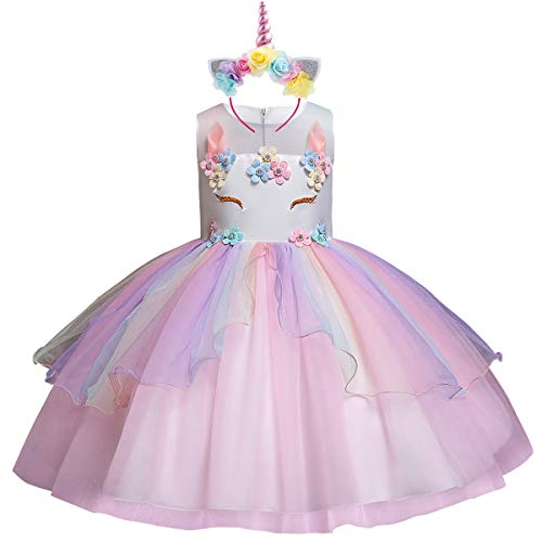 Flower Girls Kids Rainbow Unicorn Costume Birthday Cake