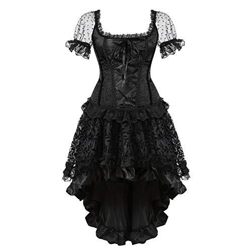 Women's Steampunk Corset Dress Costume Burlesque Halloween Costumes Victorian Steam Punk Gothic Corsets Skirt Set ()