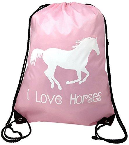 Horse Backpack--Pink, I Love Horses Drawstring Bag --Cute Horse Themed Gift for Girls