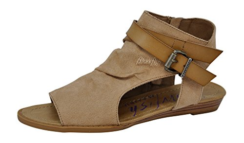Natural Balla Women's Sandal Suede Strap Wedge Blowfish Sand PvIq5P