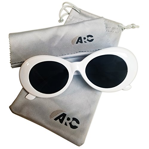Clout Goggles Oval Mod Round Sunglasses Thick Frames Retro White Thick Lens INCLUDES Carrying Pouch And Cleaning Cloth By - Sunglasses Round White Retro