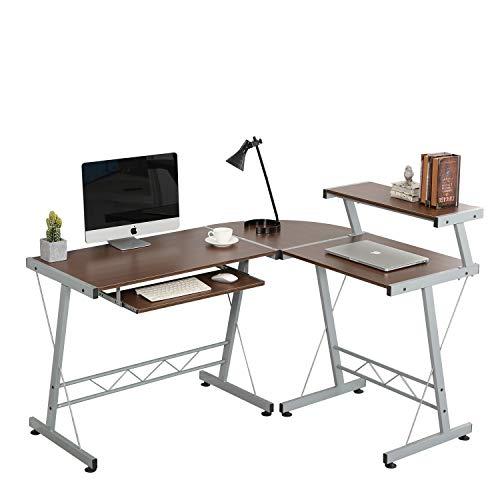 Soges L-Shaped Corner Computer Desk with Upper Shelf, E1 Solid Laptop PC Computer Table Workstation Desk Home Office Desk, DX-402C1