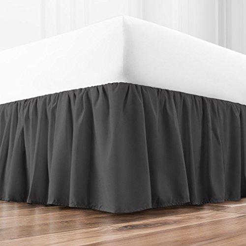 Zen Home Luxury Ruffled Bed Skirt - 1500 Series Luxury Brushed Microfiber w/Bamboo Blend Treatment - Eco-friendly, Hypoallergenic Dust Ruffle w/15 Drop - Queen - Gray (Queen Gray Dust Ruffle)