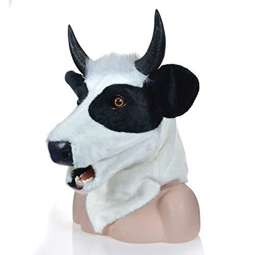 Festa delle Maschere XIANGBAO Simulazione Animal Moving Bouth Maschera di Mucca Bianca Maschera Animale Maschere pelose ( Colore   bianca , Dimensione   2525 )
