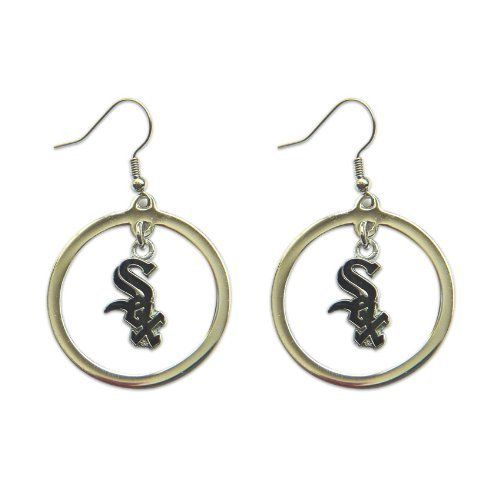 MLB Chicago White Sox Floating Logo Hoop Earrings