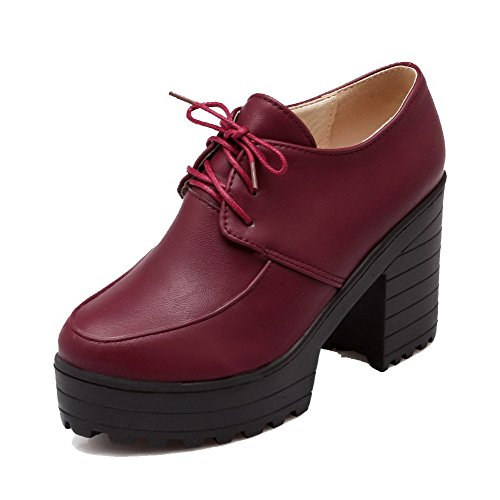 Odomolor Women's High-Heels PU Solid Lace-up Round-Toe Pumps-Shoes, Claret, 43