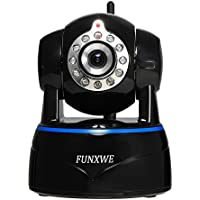 Funxwe 1080P WiFi IP Camera Wireless H.264 Onvif Wide Angle PTZ Night Vision Audio Surveillance Motion Detection Memory TF SD Card Slot Black