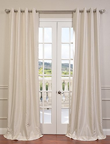Half Price Drapes PDCH KBS2 84 GRBO Grommet Blackout Vintage Textured Faux  Dupioni Silk Curtain, Off White