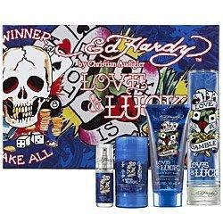 Ed Hardy Love & Luck Cologne Gift Set for Men 3.4 oz Eau De Toilette Spray (Love And Luck Ed Hardy Gift Set)