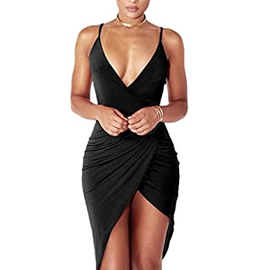 YS.DAMAI Women's Sexy Deep V Neck Sleeveless Spaghetti Strap Bodycon Wrap Dress Front Slit Bandage Midi Club Dress