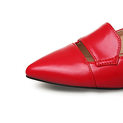 AllhqFashion Womens Pointed Closed Toe Pull On PU Solid Low Heels Pumps-Shoes Red HImTjNrmv