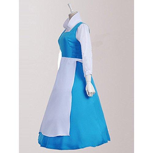 Cuterole Adult Princess Belle Costume Blue Maid Fancy Dress custom