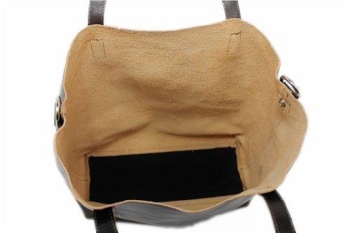 LEATHERWORLD tamaño tela de marrón para Italy cuero de Bolso marrón mujer vwqZrv4U