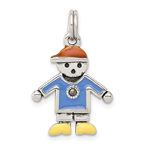 Q Gold Jewelry Pendants & Charms Themed Charms Sterling Silver Boy Charm