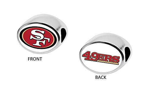 Final Touch Gifts San Francisco 49ers 2-Sided Bead Fits Most Bracelet Lines Including Pandora, Chamilia, Troll, Biagi, Zable, Kera, Personality, Reflections, Silverado and More