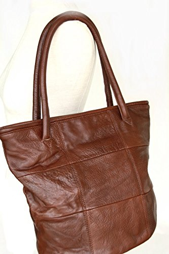 Shopper, Tote bag in pelle vera marrone (36 / 30 / 21), Italia