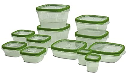Exceptionnel 24 Piece Food Storage Container Set   12 BPA Free Plastic Containers With  Snap Tight Lids