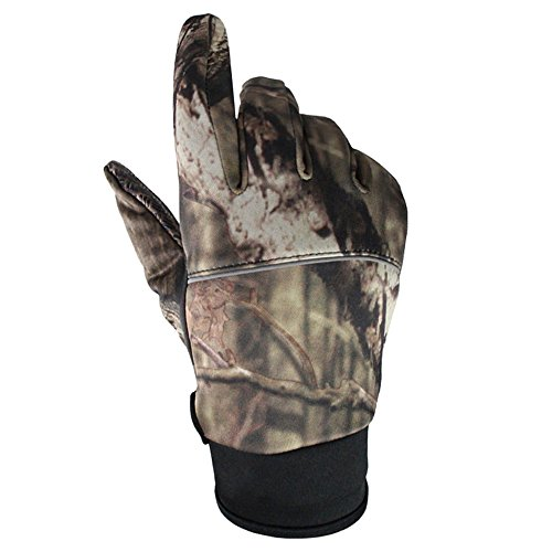 Queshark 3D Camouflage Non-Slip Cycling Gloves Windproof Touchscreen Outdoor Sport Tactical Hunting Trekking Hiking Camo Fishing Gloves (Full Finger, M)