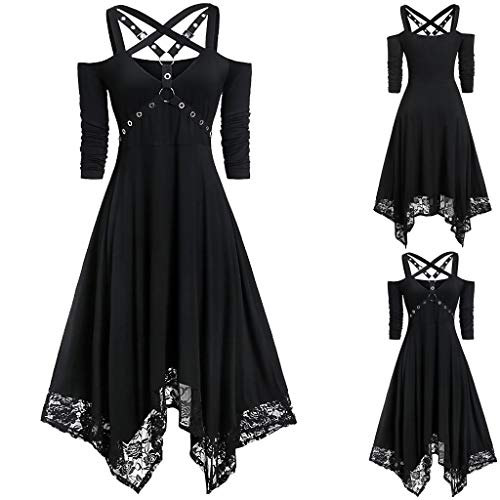 charmsamx Women's Cross Bandage Dress Halloween Lace Dress Midi V Neck Open Shoulder Gothic Dress Plus Size Half Sleeve Vintage Party Dress Black, XXL (Size Star Trek Costume Plus)