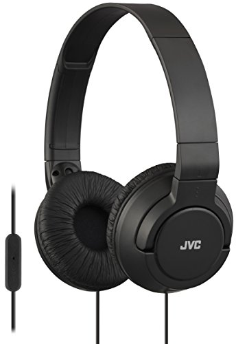 JVC Lightweight Flat Foldable On Ear Colorful Lightweight Foldable Headband with Mic, Black (HASR185B)