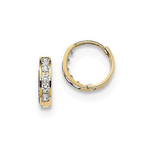(14k Yellow Gold 2mm Cubic Zirconia Cz Huggie Hoops Hoop Fine Jewelry Gifts For Women For Her)