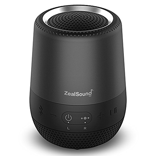 Bluetooth Speaker 360 Stereo Sound, ZealSound TWS Waterproof Bluetooth Speakers with Loud Stereo Sound, Rich Bass, Built-in Mic, Portable Wireless Speaker for iPhone/iPod/iPad/Phones/Tablet, Black