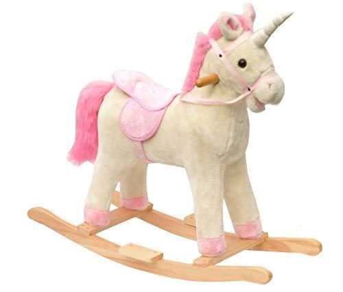 EXCOLO Einhorn Schaukel-Pferd in wei/ß mit pink rosa M/ähne und Holz-kufen