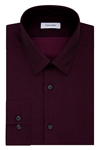Calvin Klein Men's Dress Shirt Slim Fit Non Iron Herringbone, Bordeaux, 17
